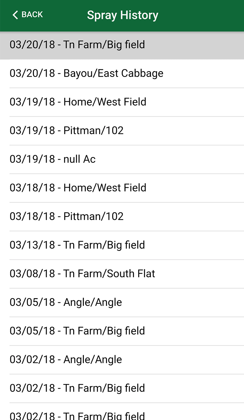 With Farm Spray Pro, view spray history by searching through the list of all spray records. Go back and review your spray records to make sure you are meeting your dicamba record keeping requirements, whether it's Engenia, XtendiMax or FeXapan.